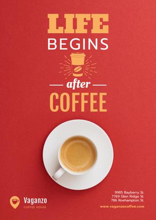 Ontwerpsjabloon van Poster van Coffee Quote with Cup in Red