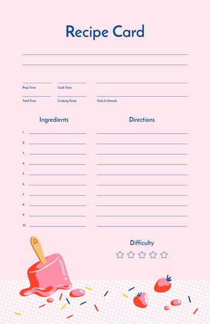 Template di design Melted strawberry Ice Cream Recipe Card