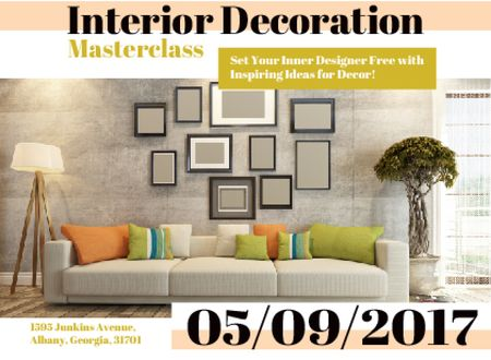 Ontwerpsjabloon van Card van Interior decoration masterclass