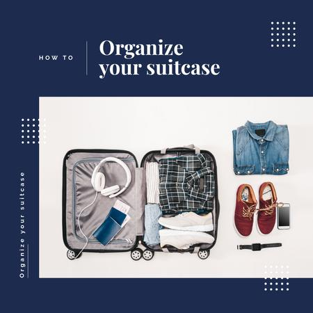 Clothes in travel suitcase Instagram Tasarım Şablonu