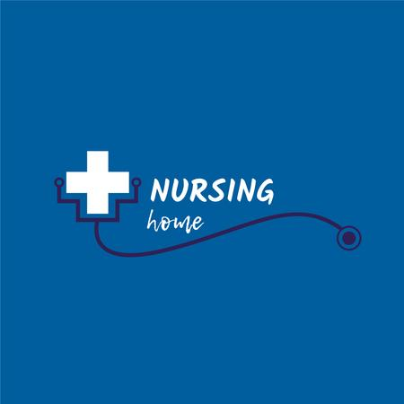Nursing Home with Medical Cross and Stethoscope Logo Tasarım Şablonu