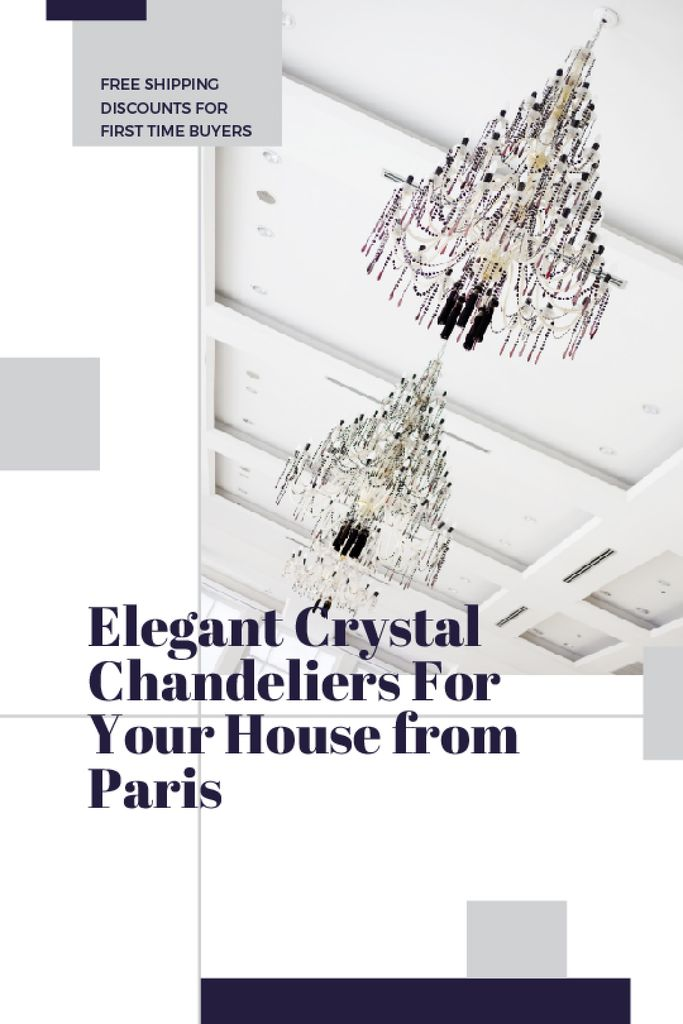 Elegant Crystal Chandeliers Offer in White | Tumblr Graphics Template — Создать дизайн