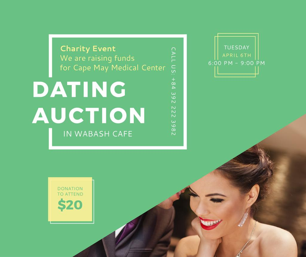 Smiling Woman at Dating Auction — Créer un visuel