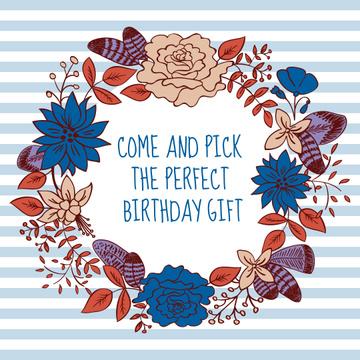 Birthday gift in Flower Wreath