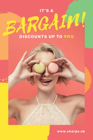 Template di design Sale Offer Woman Holding Macarons by Face Tumblr