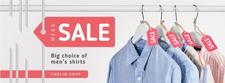 Modèle de visuel Clothes Sale Shirts on Hangers - Facebook cover