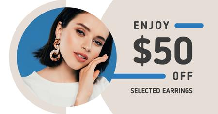Jewelry Offer Woman in Stylish Earrings Facebook AD Modelo de Design
