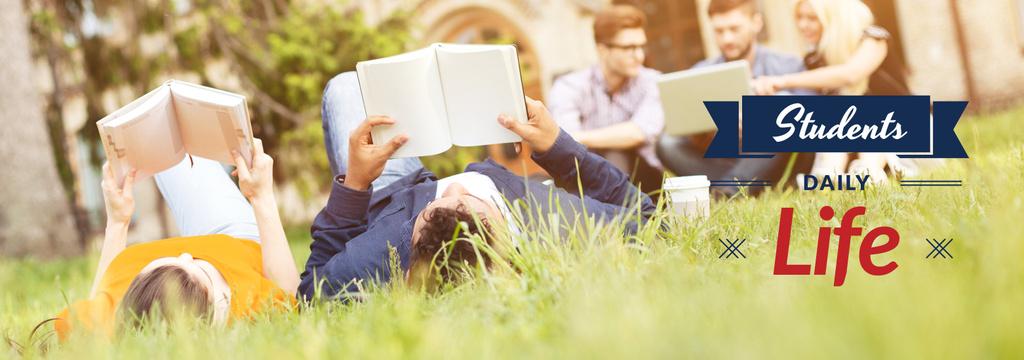 Szablon projektu Students Reading Books on Lawn Tumblr