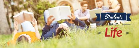 Students Reading Books on Lawn Tumblr Modelo de Design