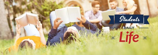 Ontwerpsjabloon van Tumblr van Students Reading Books on Lawn