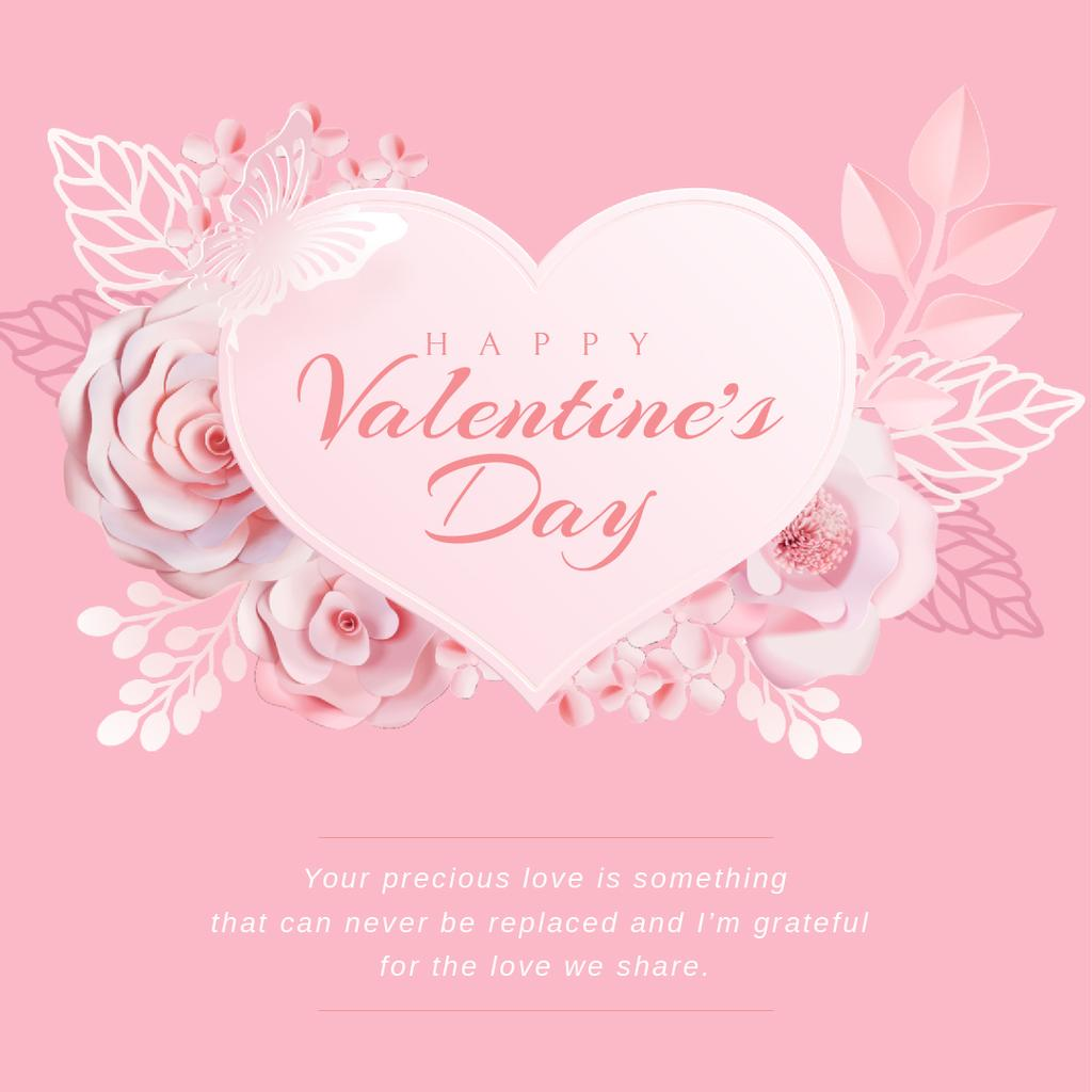 Valentine's Day with Pink heart with Flowers — Créer un visuel