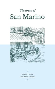 San Marino City Street Sketch in Blue | eBook Template