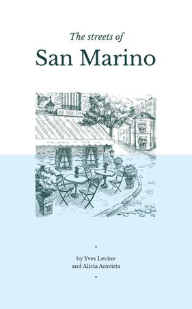 San Marino City Street Sketch in Blue Book Cover – шаблон для дизайну
