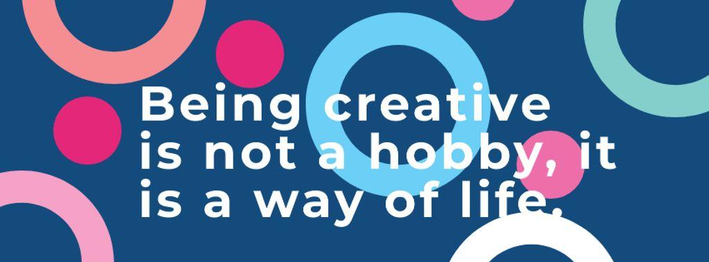 Citation about how to be a creative Facebook cover Modelo de Design