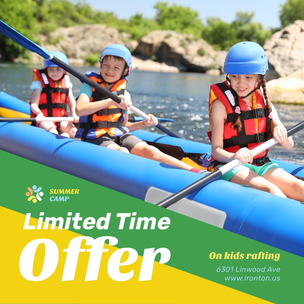 Summer Camp Kids Paddling in Boat | Instagram Post Template — Создать дизайн
