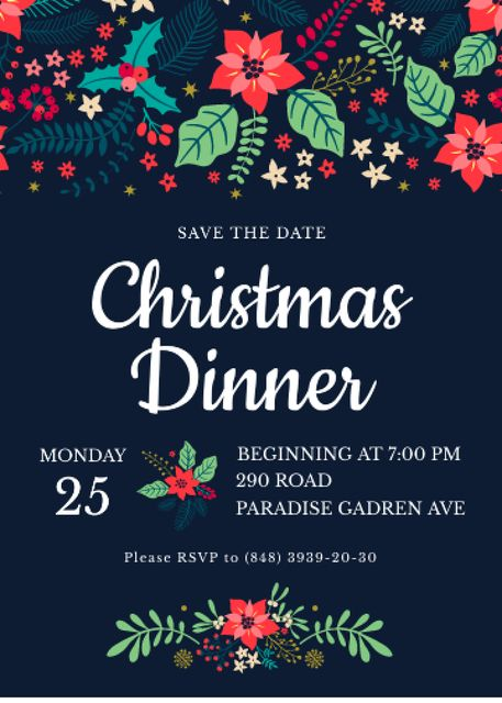Ontwerpsjabloon van Invitation van Christmas Dinner Invitation Red Poinsettia