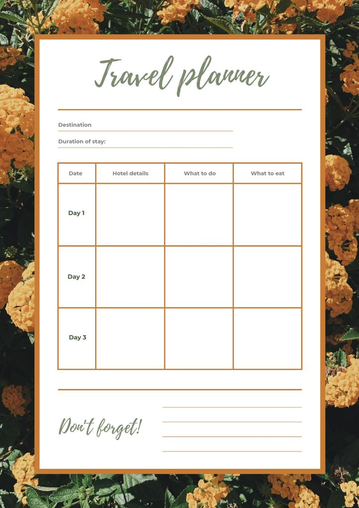 Travel Planner in Yellow Flowers Frame — Create a Design