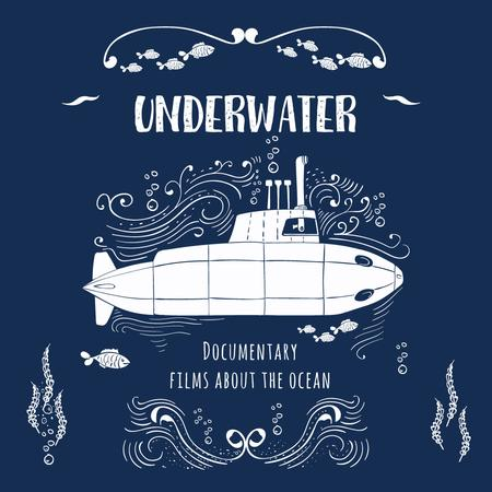 Ontwerpsjabloon van Instagram AD van Underwater documentary film with Submarine