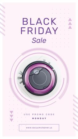 Template di design Black Friday Sale Robot vacuum cleaner Instagram Story