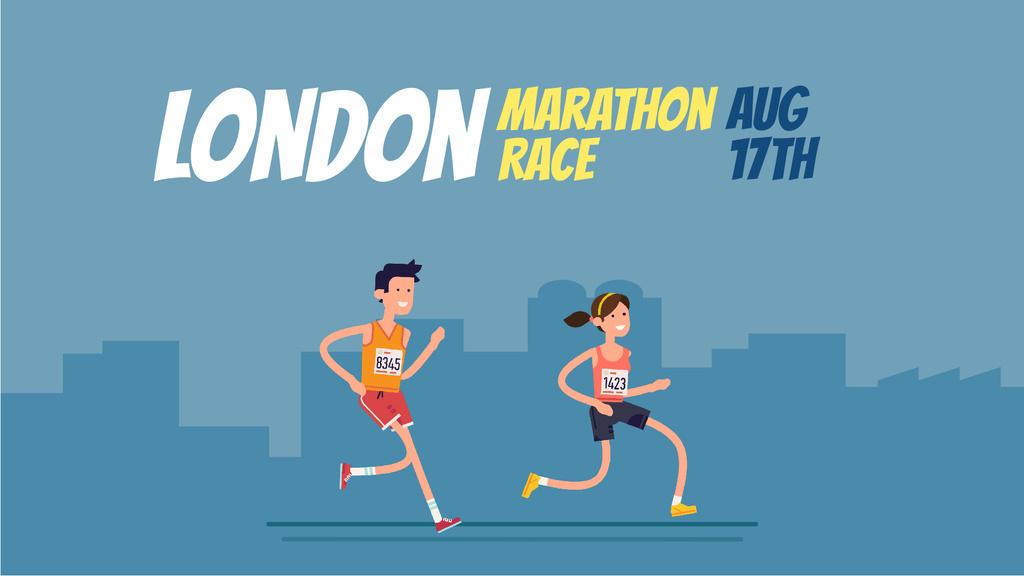 People Running Marathon Race in Blue | Full Hd Video Template — Crea un design