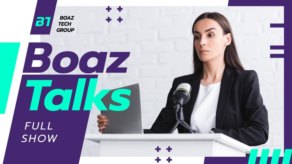 Discussion Event Announcement Businesswoman by the Rostrum Youtube Thumbnail – шаблон для дизайна
