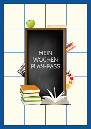 School Week Plan with Stationery Poster Tasarım Şablonu