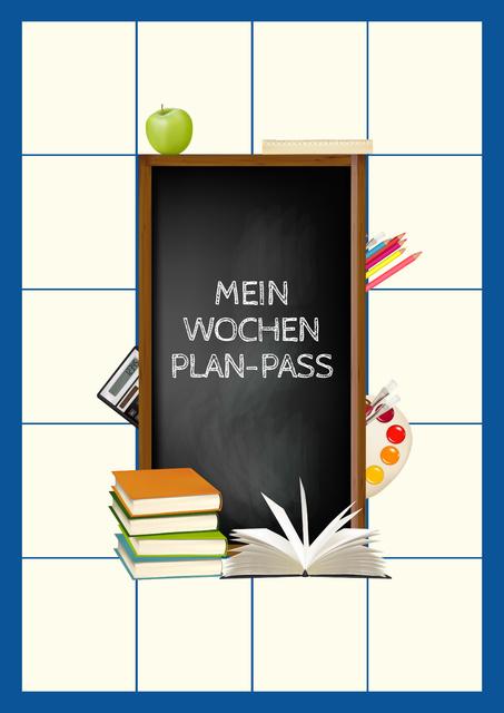 School Week Plan with Stationery Poster Modelo de Design