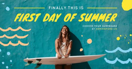 Plantilla de diseño de First Day of Summer Girl Holding Surfboard Facebook AD