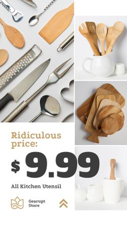 Designvorlage Kitchenware Ad Wooden Utensils Set für Instagram Story