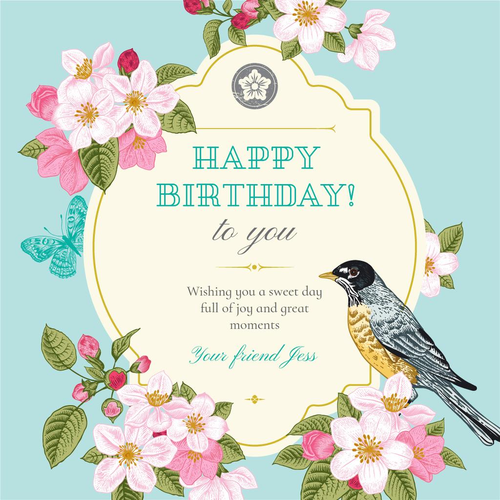 Happy Birthday Greeting with Cute Bird — Crea un design