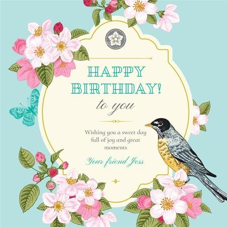 Modèle de visuel Happy Birthday Greeting with Cute Bird - Instagram
