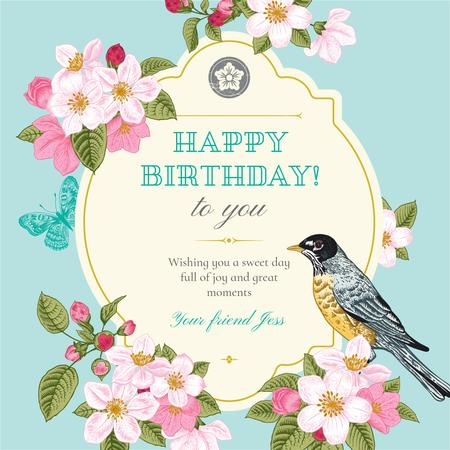 Happy Birthday Greeting with Cute Bird Instagram Modelo de Design
