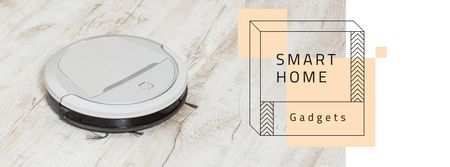 Robot vacuum cleaner for Smart Home Facebook cover – шаблон для дизайна