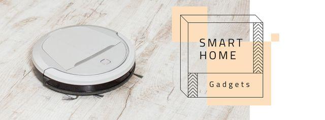 Robot vacuum cleaner for Smart Home Facebook cover Modelo de Design