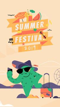 Summer Festival Invitation Cactus Taking Selfie | Vertical Video Template
