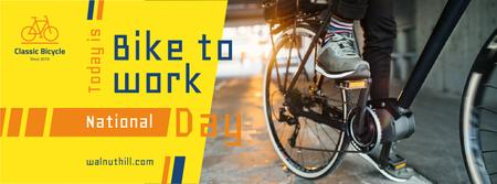 Man riding bicycle on Bike to work Day Facebook cover – шаблон для дизайна