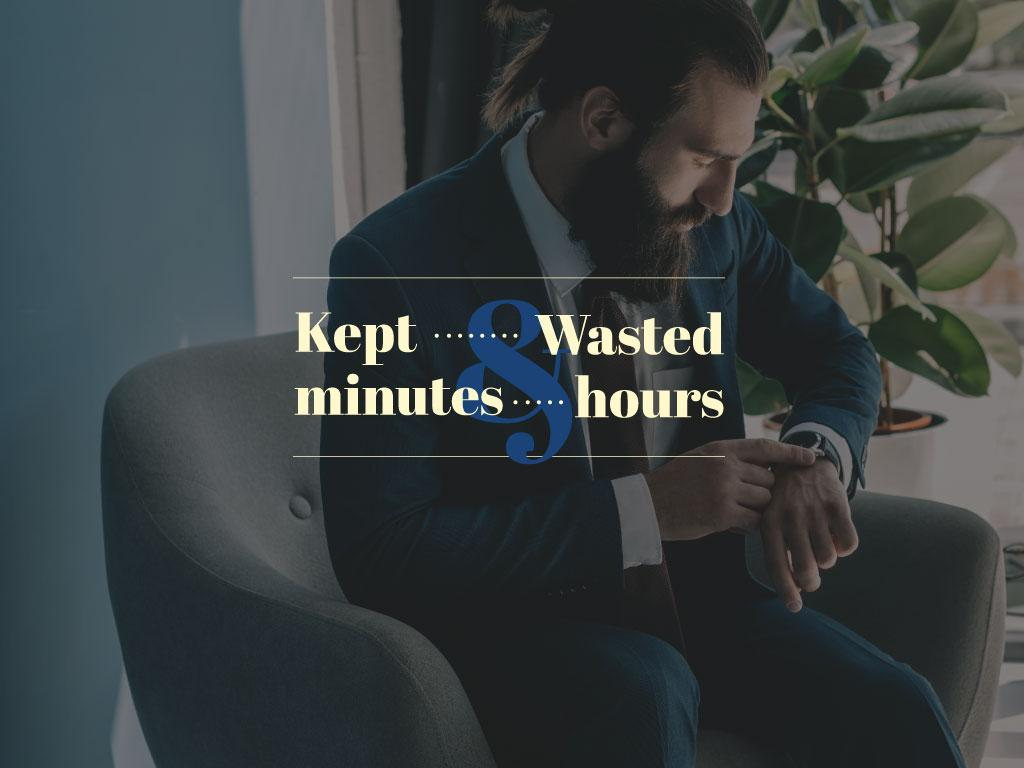Businessman cheking watches — Créer un visuel