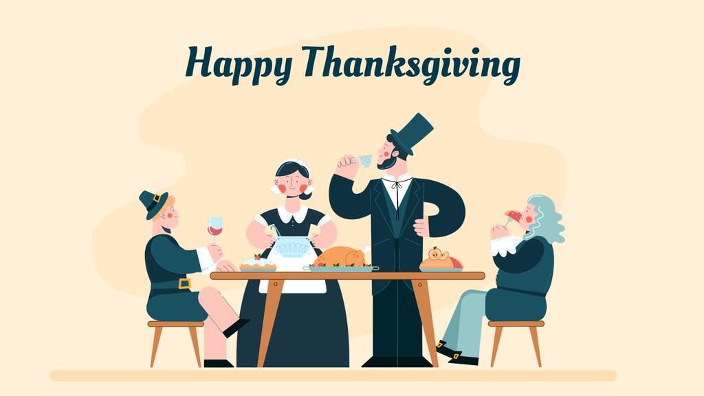 Pilgrims having thanksgiving dinner — Crear un diseño