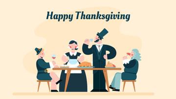 Pilgrims having thanksgiving dinner