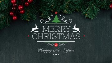 Christmas greeting Fir Tree Branches