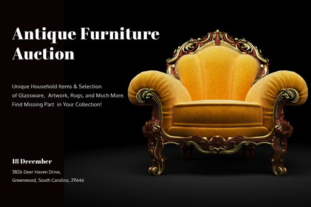 Antique Furniture auction with Vintage Armchair Gift Certificate – шаблон для дизайну