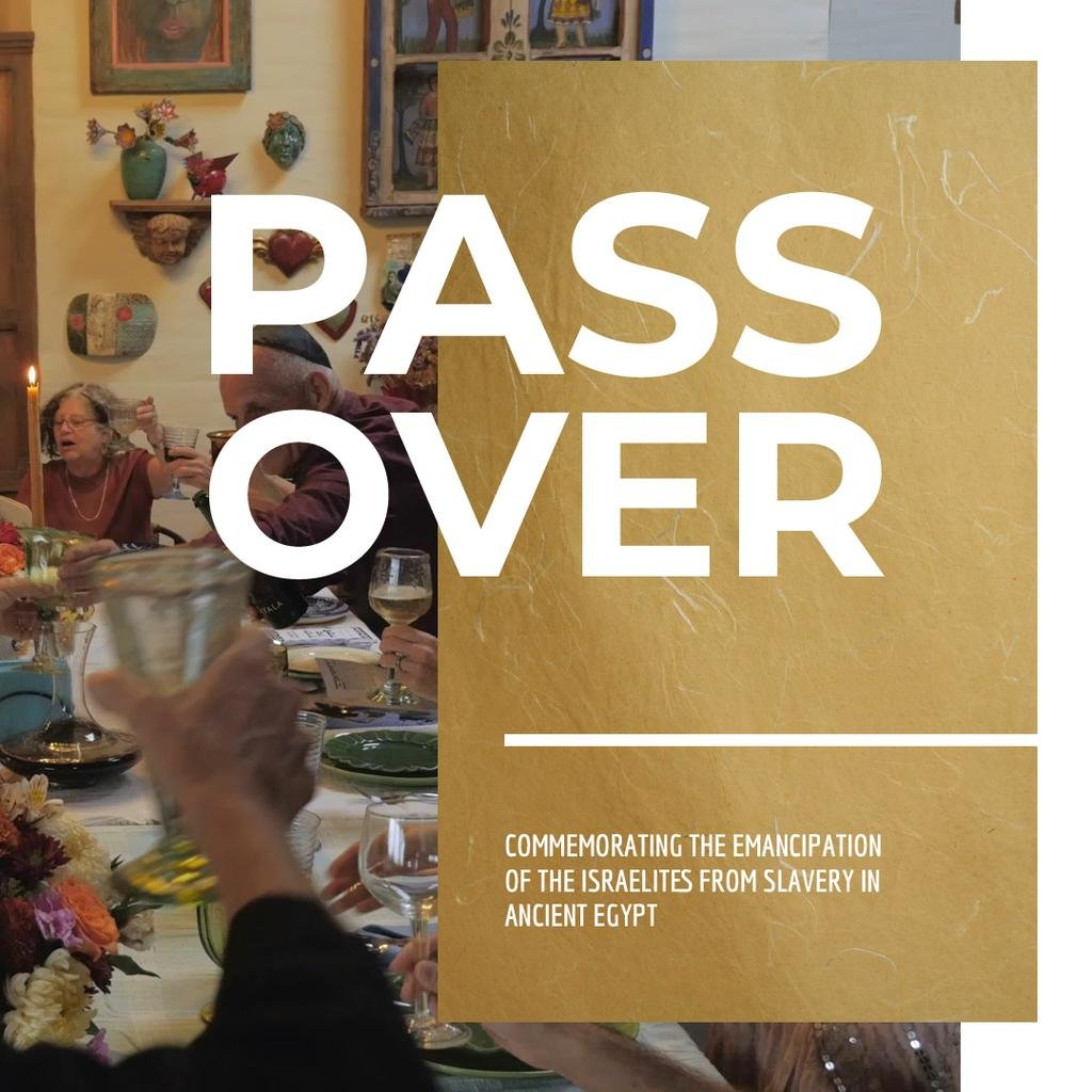 Passover Celebration with Family at Dinner Table — Modelo de projeto