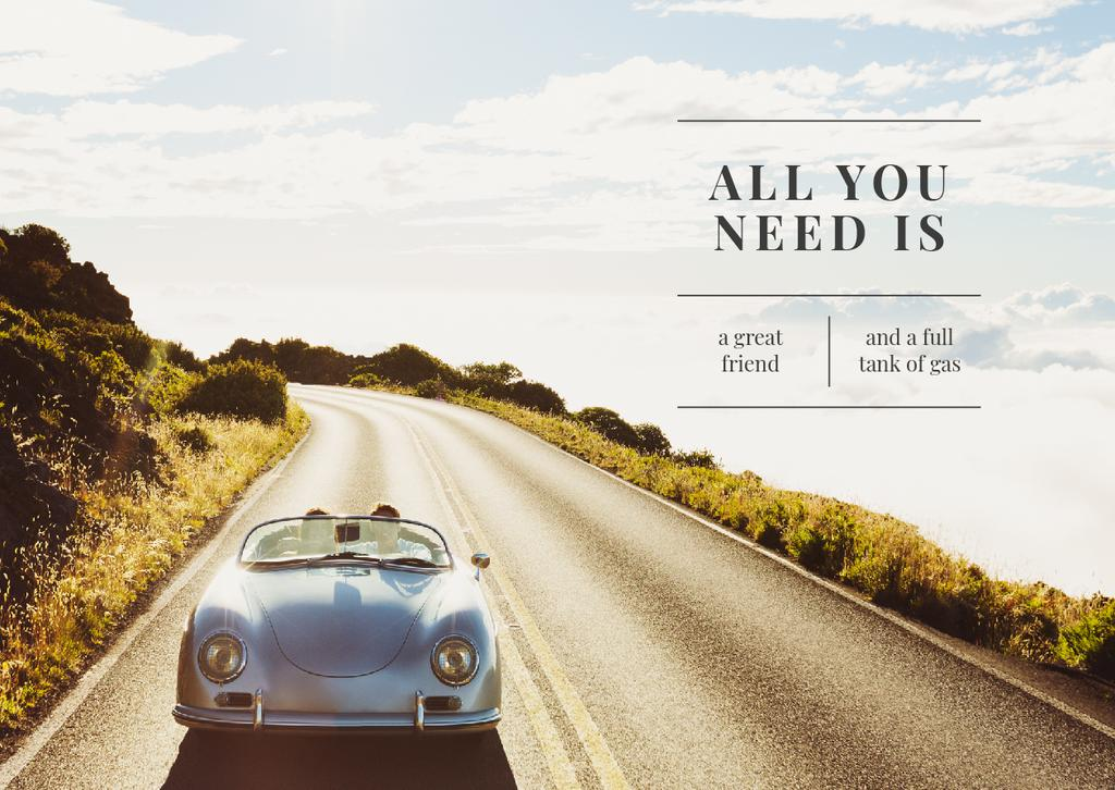 Travel Inspiration with People in Car on Road — Crear un diseño