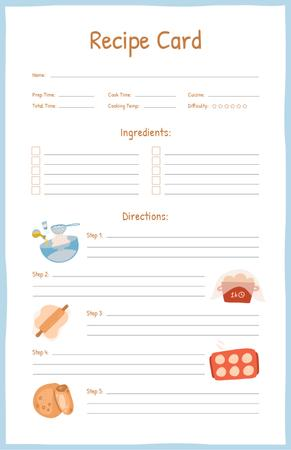 Ontwerpsjabloon van Recipe Card van Dough Cooking Steps