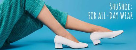 Plantilla de diseño de Shoes Store Female Legs in Heeled Shoes Facebook cover