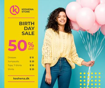 Birthday Fashion Sale Girl with Pink Balloons | Facebook Post Template