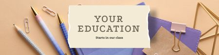 Education Courses with stationery Twitter Design Template