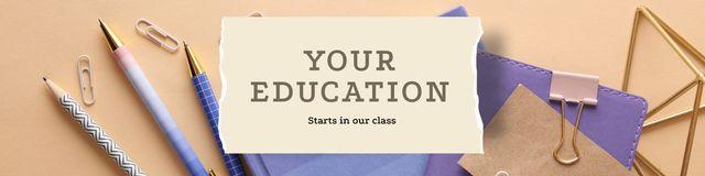 Plantilla de diseño de Education Courses with stationery Twitter