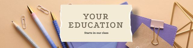 Ontwerpsjabloon van Twitter van Education Courses with stationery