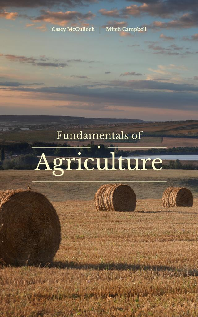 Agriculture Theme Autumn Landscape with Hay Rolls | eBook Template — Создать дизайн